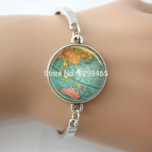 Wholesale vintage globe bracelet planet earth world map glass dome wholesale vintage globe bracelet planet earth world map glass dome art charm braceletbronze gumiabroncs Gallery