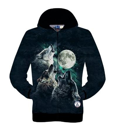 Otoño-S-XXL estilo Harajuku 3d chaquetas impresas lobo con luna galaxy sudaderas con capucha negro hombres / mujeres sudaderas 3D casual béisbol con capucha abrigo