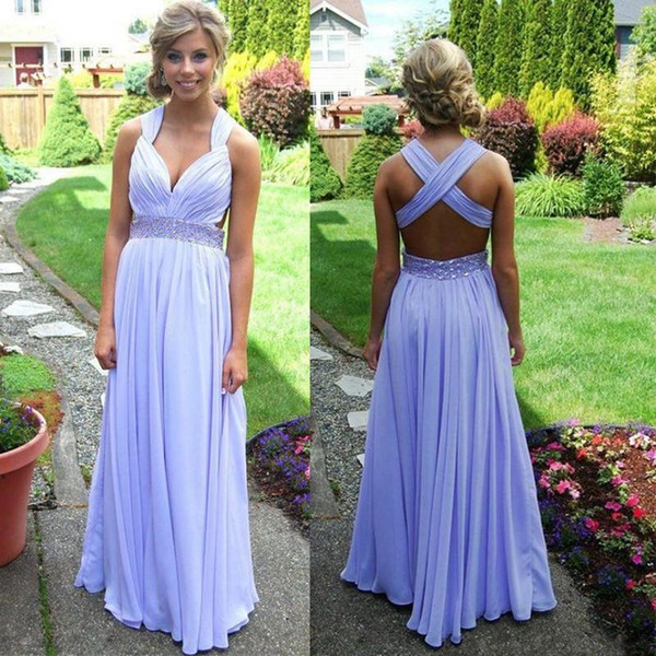 Lavender Prom Dresses 2015 Spring A-line Crisscross Straps Back Sweep Train Crystal Beads Waistband Formal Evening Dresses Chiffon Backless