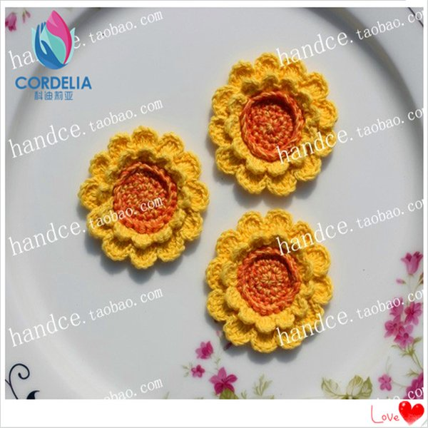 20 Pcs 1.96 Inch China Lastest Products Real Touch Mini Lace Fabric Sunflower Head As Party Decoration Artificial Flower For Sal