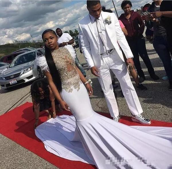 2018 sirena blanca vestidos de noche de encaje apliques abalorios de plumas vestidos de fiesta más tamaño sexy bodas vestido de invitado espalda cremallera