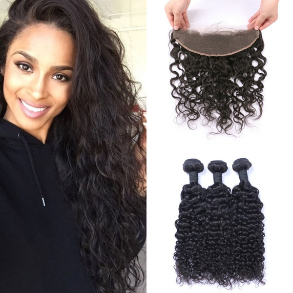 3pcs Wet And Wavy Human Hair Bundles With Lace Frontal Closure 13*4inch Virgin Indian Hair Weaves Closure G-EASY