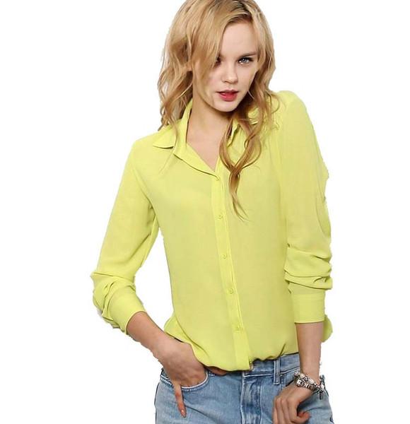 Blusas para mujer Botón 5 Color sólido 2015 Nueva camisa de manga larga blusa de gasa femenina Slim Ropa blusas feminina TPB08