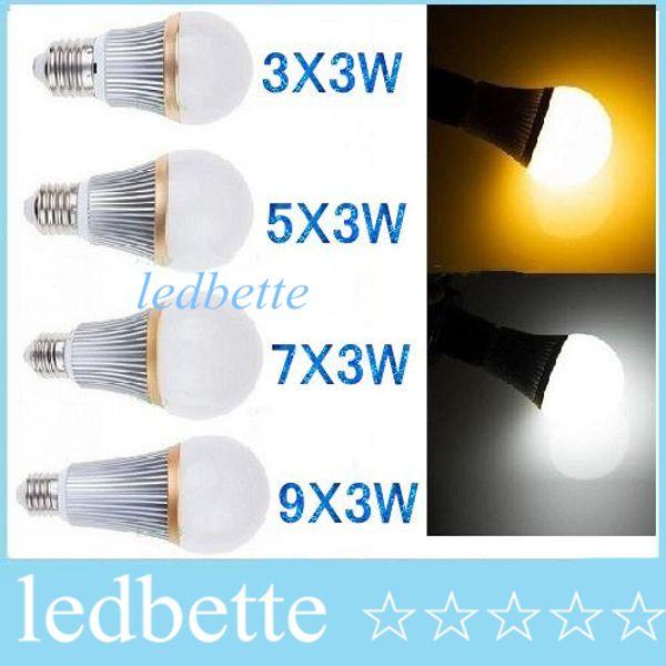 LED Bulb lamps E27 E26 E14 spot light bulb Dimmable 9W 15W 21W 27W Warm/Pure/Cool White Super Brightness Energy Saving 110-240V CE ROHS