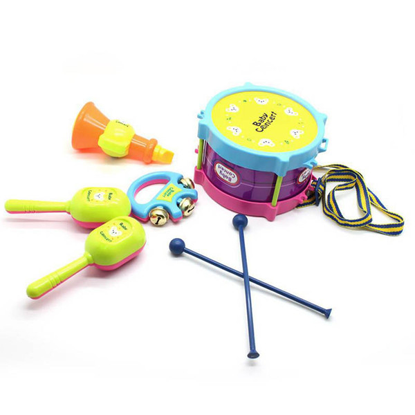 5Set Roll Drum Musical Toy Instruments Band Kit for Kids Children Baby Gift Hobbies Learning Education Toy Musical Instrument)