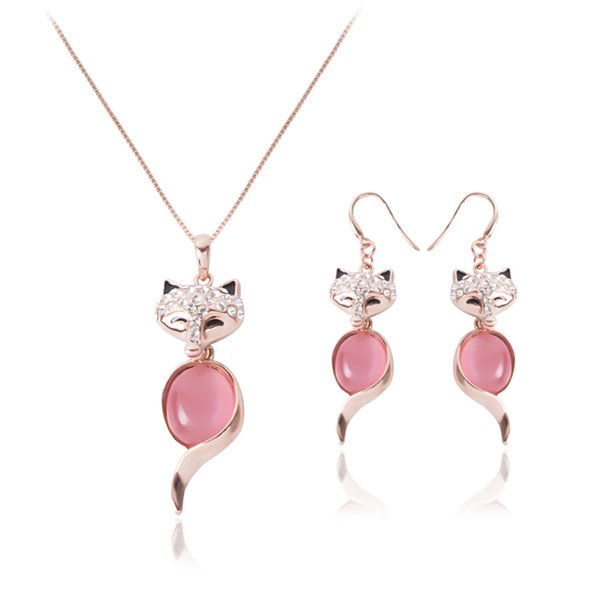 Fashion Pink Opal Rhinestone Fox Pendant Charm Necklace Earrings Jewelry Sets Women Bridal Wedding Dress Jewelry Sets