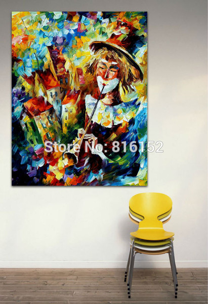Palette Knife Painting Interseting Clown Play Soul Musicians Picture Printed On Canvas For Home Office Hotel Wall Decor Art
