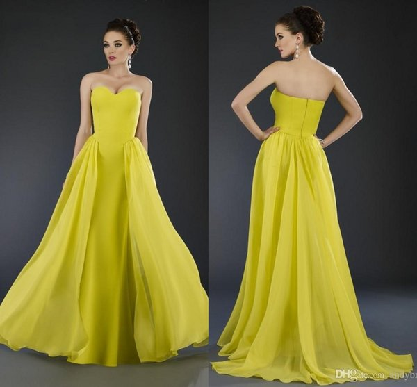 Arabic 2016 Janique Sweetheart Yellow Evening Dresses Chiffon Backless Prom Party Gowns Long Wedding Guest Bridal