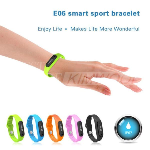 Nuovo arrivo E06 Smart Sport braccialetto impermeabile orologio da polso Tracker Monitor sonno monitor per Android 4.3 IOS 7.0