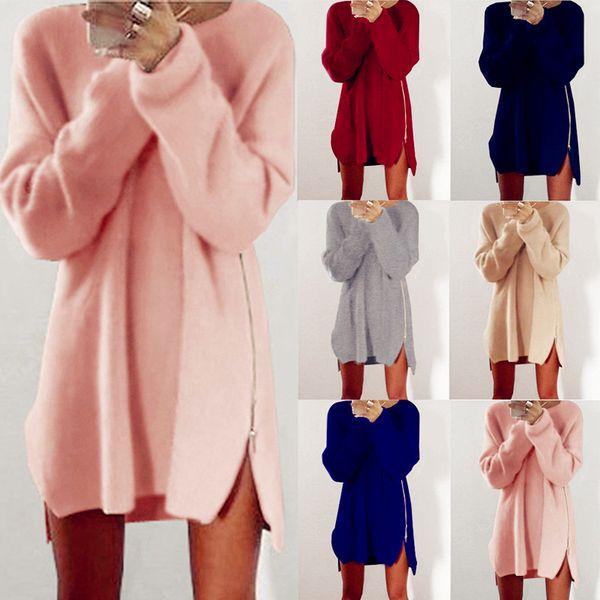 Wholesale- Women Fashion New Mini Dress Sexy Zipper Loose Sweater Cotton Knit Casual Vintage Boho Pullover Blouse Blusas Coat Femininas