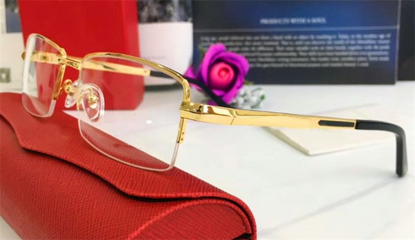 Бестселлер очки рамка 18K половина кадра позолоченные ультра-легкие оптические очки ноги для мужчин бизнес-стиль высокое качество с коробкой 8200964