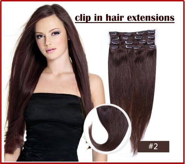 """Wholesale - -12""""- 26"""",8pcs Brazilian remy Hair straight clip-in hair remy human hair extensions, 2# dark brown ,100g/set,"""
