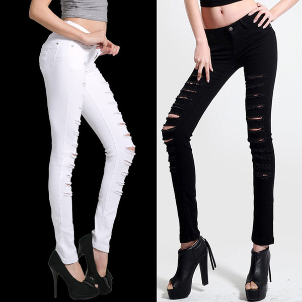 Black and white designer harem jeans for women hole feet pants womens plus size flare distressed jeans ladies Korean stretch pencil pants