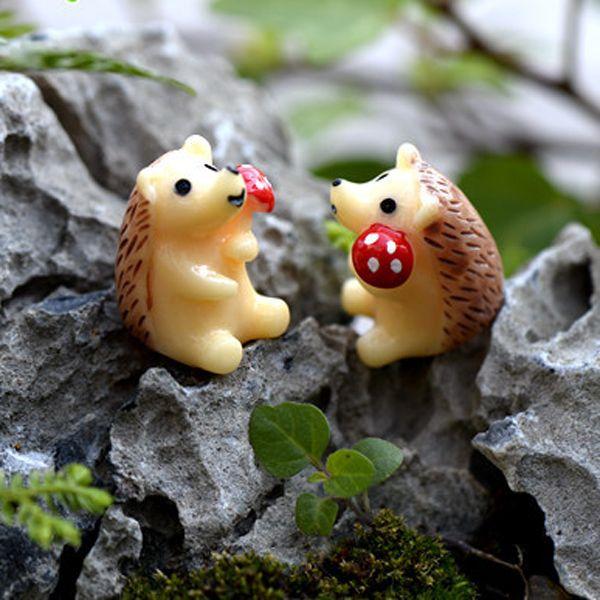 10pcs Mushroom Hedgehog Figurines Resin Crafts Fairy Garden Miniatures Succulent Bonsai Tools terrarium Toys Micro Landscape Jardin Gnomes