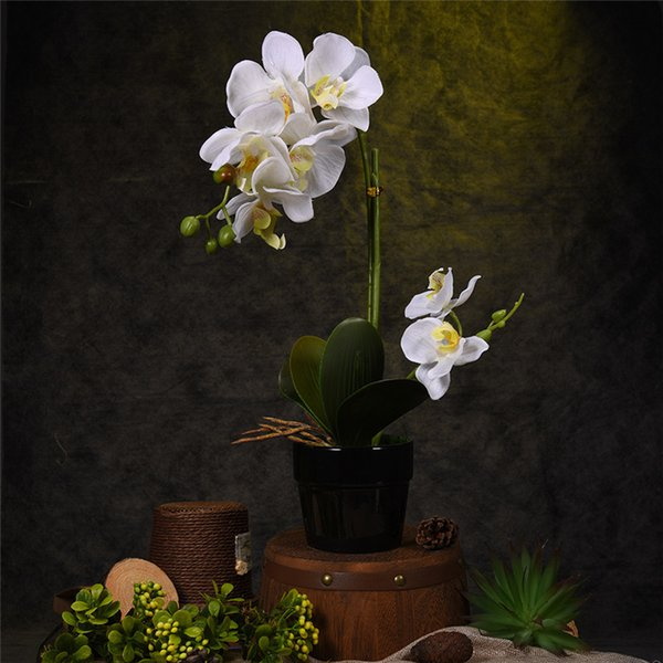 Artificial Flower Plant Potted Bonsai Best Gifts Fake Butterfly Orchid Flowers Plants Wedding Decor Ornaments For Living Room