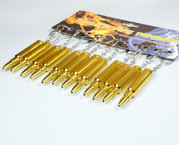 Bullet Pipe MINI Funky Bullet Metal Pipe Tobacco Smoking Pipe Key Chain Gold Pipes Gold Bullet Keychain Smoking Pipes