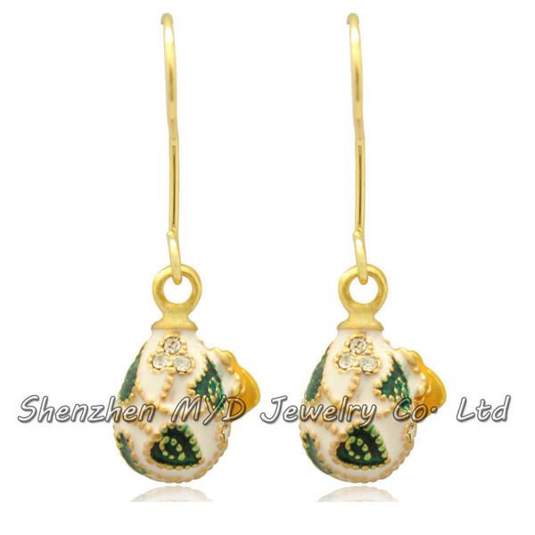 Handmade woman fashion jewelry muliti-color leaf ladybird ladybug Faberge style drop earrings color enameled Halloween Day