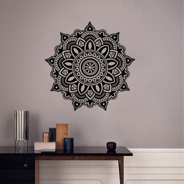 Mandala Wall Decal Flower Vinyl Wall Sticker Indian Lotus Murals Interior Home Décor