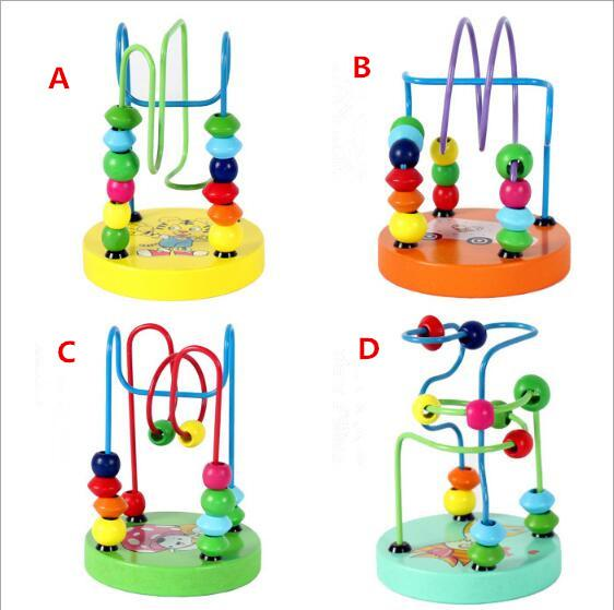 Toddler Children Kids Child Baby Colorful Wooden Mini Around Beads Wire Maze Early Educational Ablility Developing Toys Gifts