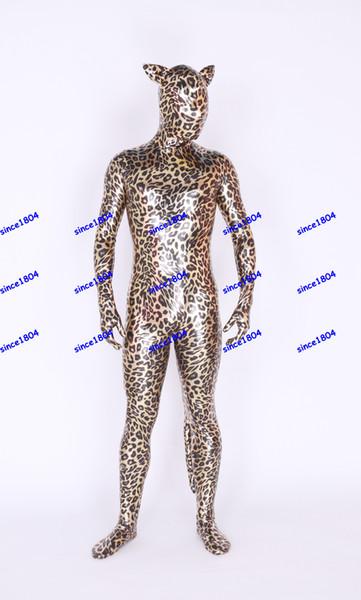 New fabrics Metal leopard cat Lycra Body Suit Fancy Dress Super Hero Bodysuit