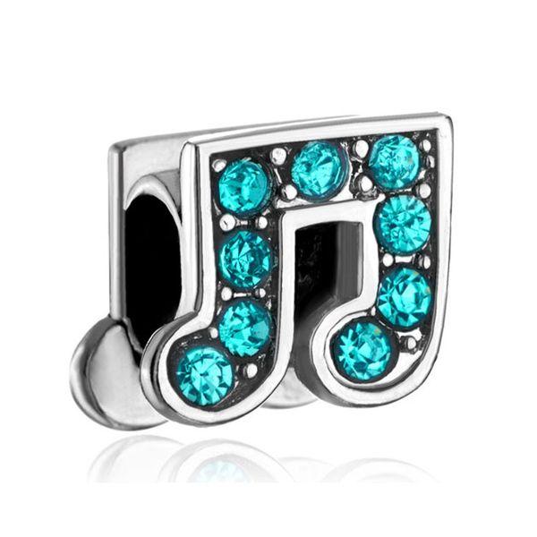 10 pezzi per lotto Metal Slide Bead Turquoise Crystal Music Note Bracciale Pandora Lucky Charm europeo adatto