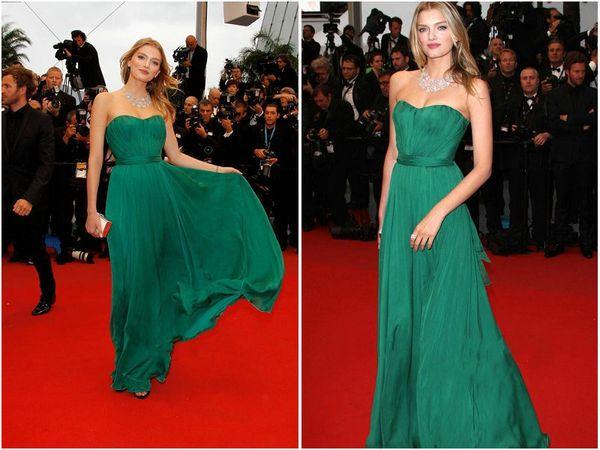 2016 verde senza spalline Celebrity Dresses Red Carpet primavera abiti da sera estivi nuovo abito da ballo in chiffon di pizzo Bella
