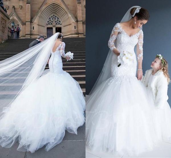 Manches longues col en V robes de mariée sirène 2018 appliques dentelle modeste abiti da sposa trompette robes de mariée en tulle