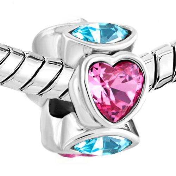 Valentine's Day Shiny Pink Heart shape crystal Love charm European bead Fit Pandora Chamilia Biagi Charm Bracelet