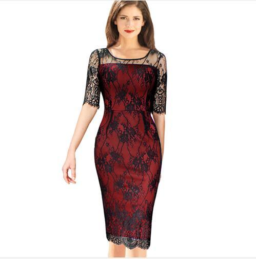 Lcw New Nice Womens Elegant Vintage Rockabilly See Through Floral Lace Colorblock Cocktail Party Prom Bodycon Pencil Dress