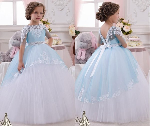 aaf26bdfc4d8d Half Sleeve Sky Blue Flower Girls Dresses Beaded Crystals Lace Appliques  Puffy Flowergirl Gowns Floor Length Tulle Ruched Communion Dresses Brown ...