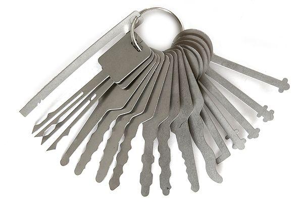 16pcs/set Lock Picking Keys Auto Locksmith Tools Lock Picks Jigglers for Double Sided Lock Picking Picks Set for Car Lock Opener