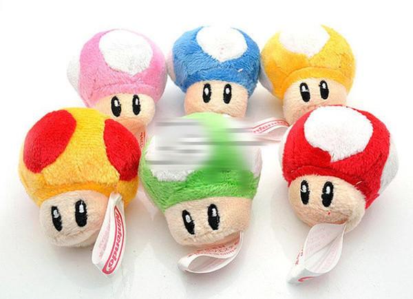 2 inch 10 Color Super Mario Bros Mushroom With Key Chain Plush Doll 2015 new children Cartoon Super Mario Plush toys B