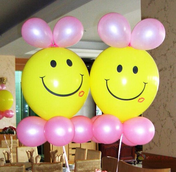 12'' 3.4g Yellow Smile With Red Lip Print Balloon Latex Materia Thicken For Birthday Wedding Party Home Decoration Mix Order 100PCS/LOT