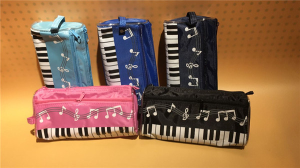 top popular Music Theme Keyboard Pencil Case Waterproof Zipper Pen Bag 5 Colors with Cartoon Music Note Pencil Ruler Gift 2021