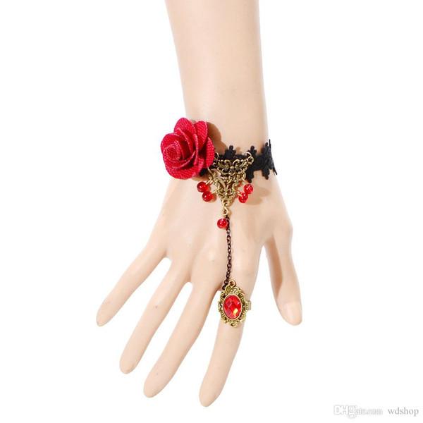 Elegante fiore di rosa Bracciale Vintage sexy pizzo mano ornamento con anelli di rubini gioielli per le donne regalo di partito di trasporto di goccia