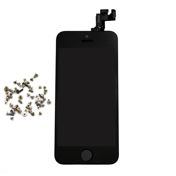 Wholesale-hotsale white black lcd display touch screen digitizer full assembly replacement parts free a set of screws for iphone 5s