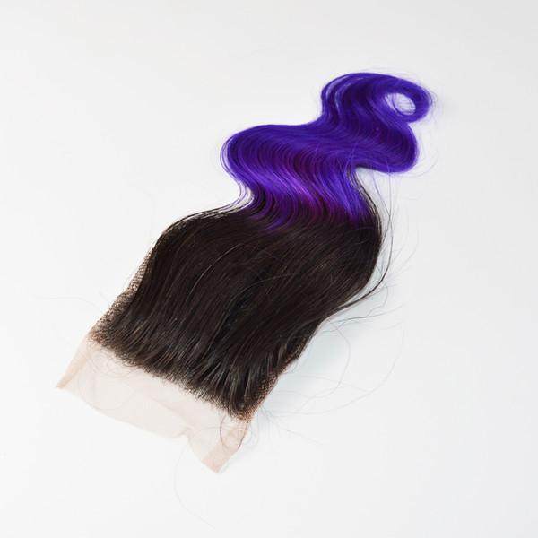 Brazilian Body Wave Ombre Lace Closure, 1b Purple Free Part Brazilian Lace Closure,Free Shipping 4x4 Omrbe Lace Closure