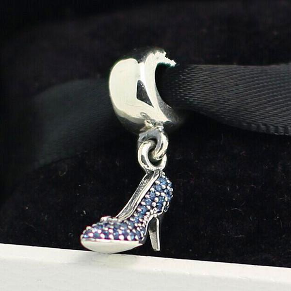 925 Sterling Silver Cinderella Sparkling Slipper Dangle Charm Bead Fits European Pandora Jewelry Bracelets Necklaces & Pendants