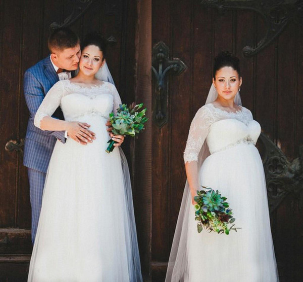 Vintage Maternity Wedding Dresses Jewel Lace Plus Size Wedding ...