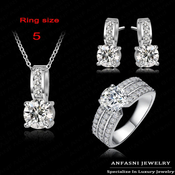 2014 New Arrival Wedding Jewelry Set Platinum Plt Swiss Crubic Zircon Necklace/Earring/Ring Set Choose Size For Ring CST0022-B