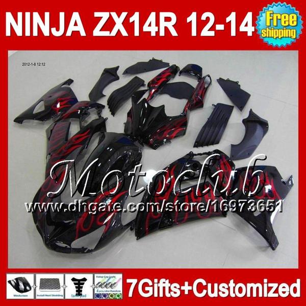 7gifts Für KAWASAKI NINJA ZX-14R 2012 2013 Rote Flammen 2012 2013 ZX 14 R 25C226 ZX14R 12-13 ZX 14R 12 13 Hot Red black 12 13 ZX14 R Verkleidung
