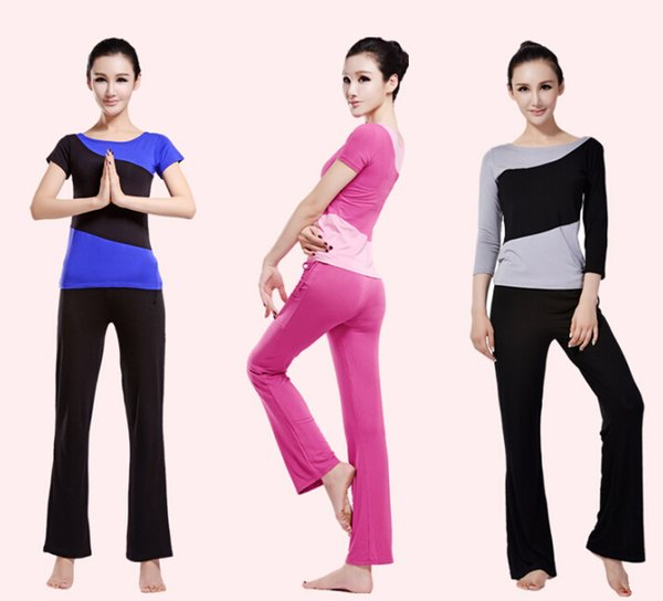 2015 Women Ladies Yoga Pilates Gym Training Exercise Running Sports Short Or Long Sleeve T Shirt & Trousers/Pants Suit Wears Free Shipping