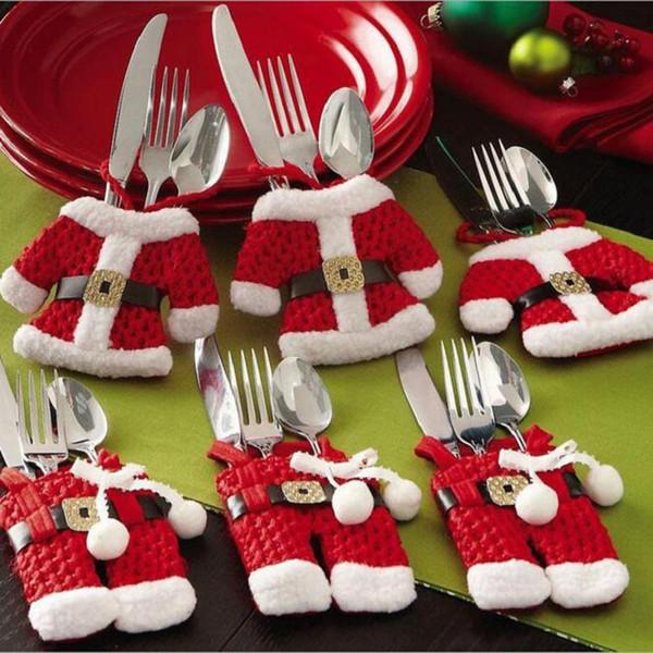 Новое поступление Счастливый Санта-Клаус Посуда из серебра костюм Рождественский ужин партии Декор Новогодние украшения оптовой 0026-20CHR