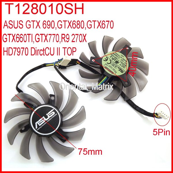 Wholesale- 2pcs/lot EVERFLOW T128010SH DC 12V 0.25A 75mm For ASUS R9 270X HD7970 GTX770 DirectCU II Graphics Card Fan 5Pin