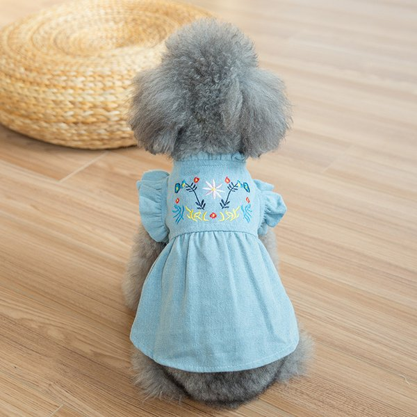 New pet bubble sleeve Embroidered Denim Skirt dog clothes summer and spring jeans Teddy dog autumn dress
