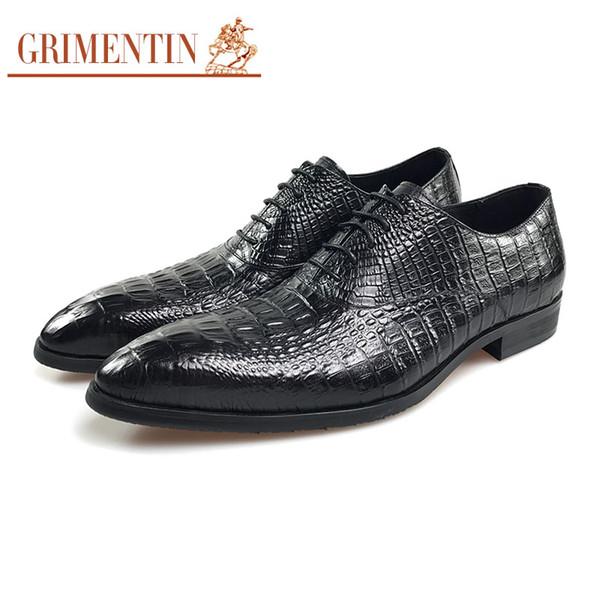 GRIMENTIN Hot sale men oxford shoes fashion designer crocodile grain formal mens dress shoes genuine leather wedding business male shoes