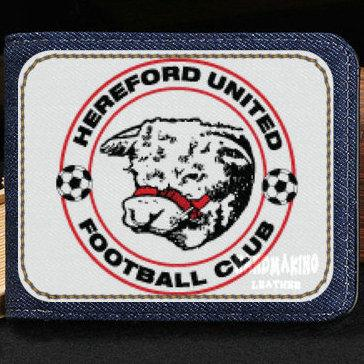 Hereford United FC wallet Football club purse Soccer team short cash note case Money notecase Leather burse bag Card holders