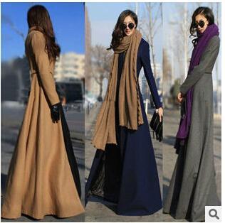 Mulheres trench coat 2016 Primavera mulheres marca casacos de lã Magro sexy maxi inverno Longo Casaco casual Trench coat feminino outwear quente