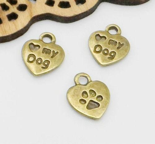 500pcs Antique Bronze Mini Heart Love My Dog Charms Pendant For Jewelry Making 10x12mm