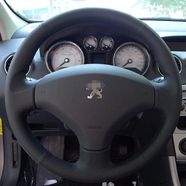 Capas de volante Caso para PEUGEOT 408 tampa Da Roda de couro Genuíno DIY estilo Do Carro mão de costura de couro carro cobre